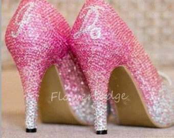 Pink Crystal Shoes Classic Pumps Slippers Sparkly lady shoes Customize Crystal Shoes For Girls&women Pink To Clean Rhinestone