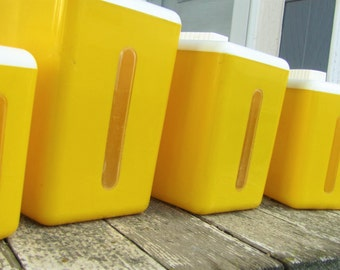 mid century kitchen canister set - sunshine yellow - plastic nesting canisters - set of 3 with 1 extra included - retro storage