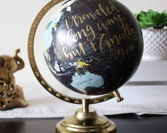 Customizable plum world globe - Calligraphy World Globe - Hand lettered Globe
