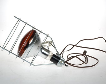 Vintage industrial lamp -  infrared lamp - metal lamp - CLIP lamp - with bulb
