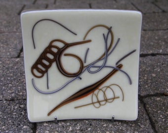 Cream and browns  square fused glass plate, statement glass plate, fused stringer plate, abstract pattern fused glass plate