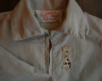 1960's Child's Zippered Jacket ~ Giraffe Motif ~ Lightweight and lined