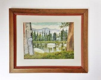 Vintage landscape painting / Mirror Lake / Yosemite