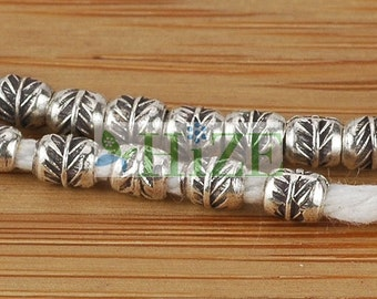 "HIZE SB377 Thai Karen Hill Tribe Silver Feather Printed Tube Beads 3mm (14"")"