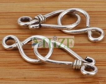 HIZE CN019 925 Sterling Silver Plain Eye-Hook Clasps 30x10mm (5)