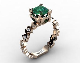 Soulmate 14K Rose Gold 1.0 Ct Emerald Diamond Engagement Ring R1043-14KRGDEM