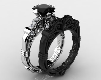 Caravaggio 14K Black and White Gold 1.25 Ct Princess Black and White Diamond Engagement Ring Wedding Band Set R623PS2-14KWBGDBD