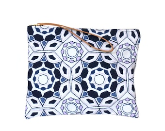 Clutch  Wristlet Leather Handle, Fabric Handbags
