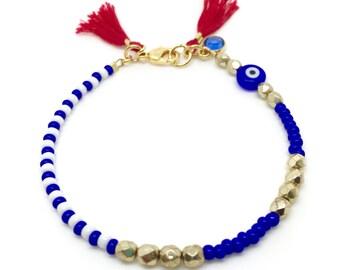 Beaded Bracelet / Evil Eye Bracelet/ Tassel Bracelet/ Protection Bracelet/ Friendship Bracelet / Yoga Bracelet/ Charm Bracelet/ Gift for her
