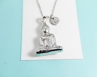 Buddha Necklace Silver Buddha Pendant Charm Necklace with Personalized Initial Necklace Monogram Charm Custom Jewelry