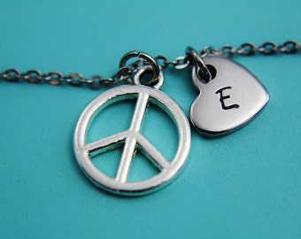 Silver Peace Sign Charm Bracelet Silver Peace Heart Charm Bracelet Peace Sign Bracelet Peace Bracelet Peace Pendant Gifts for Her under 30