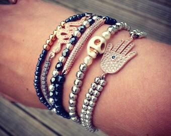 Rose Gold Bar Charm Bracelet with Navy Beads, Festival Bracelet, Layering Bracelet.