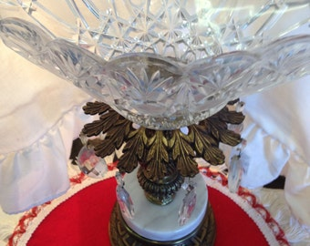Antique Crystal Bowl On Brass And Marble Stand