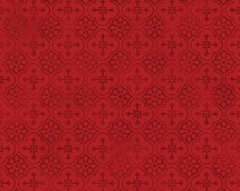 French Country Roosters, Country design, Red Background, by Red Rooster Fabrics, 25530