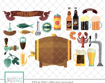 Beer icons clip art, beer clipart, vector graphics, beer keg clipart, digital clip art, digital images -  CL 128