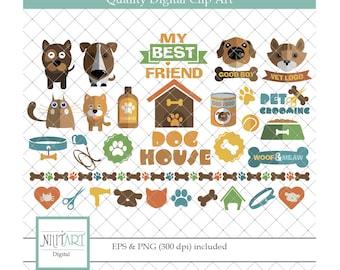 Pet Clipart,  Cat clipart , puppy clipart ,vector graphics,  digital clip art, digital images CL 011