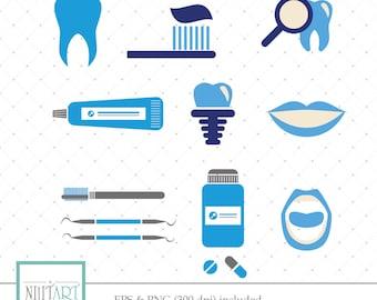 Dental symbols clipart, dentist tools clipart,  dental care clipart, Vector graphics, Digital Clipart, Digital Images - CL 031