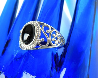 Sterling Silver Filigree with Semi Precious Black Onyx Stone Mourning Ring by Avon
