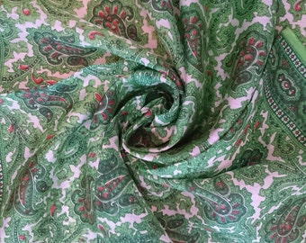 Vintage Scarf/Handkerchief - Green Paisley design - Unused and Perfect From 1970s Stock