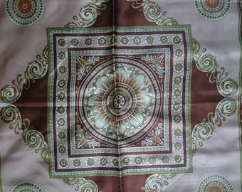 Vintage Square Polyester Scarf - Geometric and Paisley Type Design - Brown, Pale Brown, Green and Cream - Unused and Perfect From 1970s