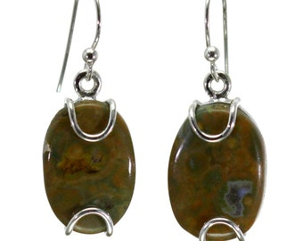 Rhyolite Earrings, 925 Sterling Silver, Unique only 1 piece available! color green, weight 5g, #28952