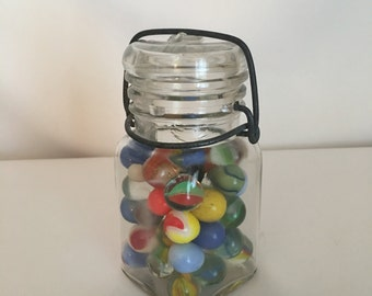 Vintage Square Glass Canning Jar With 44 Glass Vintage Marbles, K-643