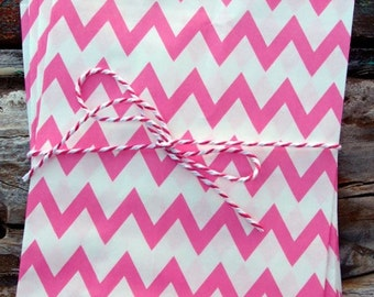 Hot Pink Chevron Striped Party Bags