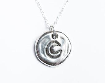 Lunar Solid Silver Wax Seal Necklace