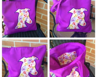 Whippet Head Applique Handbag - Purple with floral print - Whippet Lover