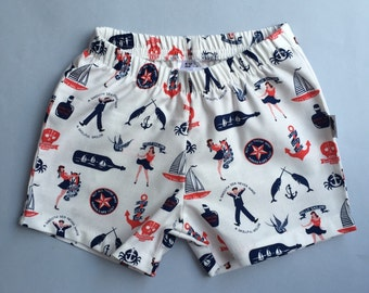 Shorts / Boy Shorts / Shorties in Ahoy Sailor Print - READY TO SHIP by Little Dreamer