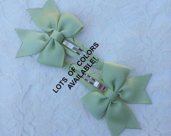 CLIPPIES  (Set of 2) Small clip-on bows for little girls in lots of colors!
