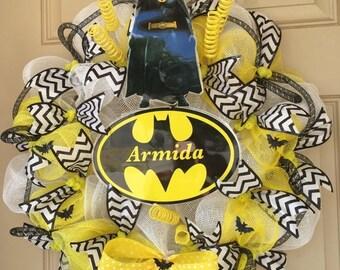 Batman Wreath, Batman Deco, Batman