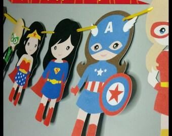 Girl Superhero Banner, Female Superhero Garland, Room Banner