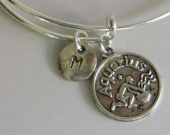 AQUARIUS Zodiac CHARM W/ Initial Adjustable Expandable Bangle Bracelet Aquarius Charm Bracelet  Gift - Under 20 Pick Your Sign  Usa  Z1