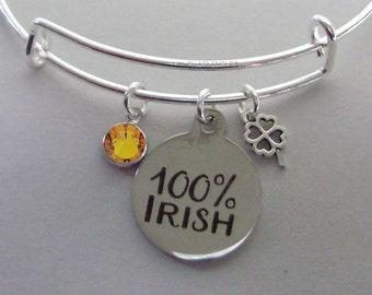 100% IRISH CHARM  W/  Birthstone & a 4 Leaf Cover / Bangles / Irish Charm Bracelets Under Twenty / Gift For Her Usa IR1