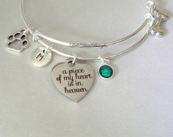 A Piece Of My HEART Dog Charm Bracelet W/ Birthstone Drop / INITIAL / Memorial Bangle  / Lost  Of Pet  Bracelet / Gift  Usa C1