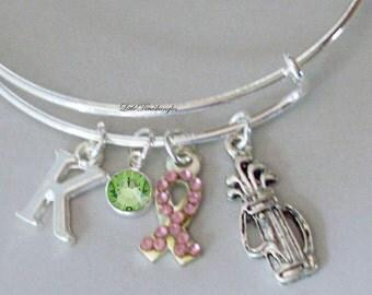 Awareness Bangle W/  GOLF Bag / Pink Crystal Ribbon t  W/ A Birthstone / Initial Bangle  Under Twenty /  Gift  For Her USA  C1