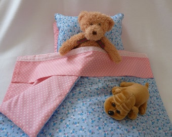 Barbie Doll Bedding Set: 3 or 4 Piece - up to 30 cm (12 inch) Doll - Quilt - Pillow - Mattress/Sheet. Cot - Crib - Bed - Pram