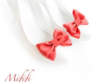Red Satin Bows Shoe Clips Wedding Shoe Clips Bridal Shoe Clips Mififi Shoe Clips