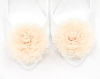 Creamy Tulle Flowers Shoe Clips Bridal Wedding Shoe Accessories Gift