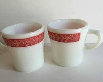 Pink Pyrex coffeemugs/Vintage Pyrex/ Vintage Kitchen