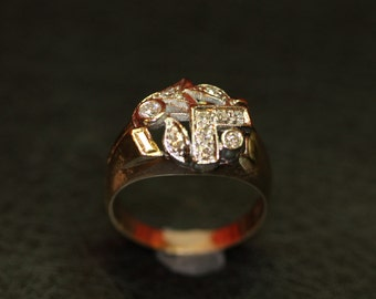 Vintage 14K/diamond, 2 Tone Ring