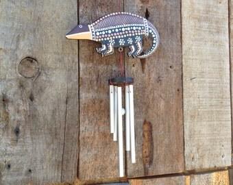 Vintage armadillo hand craved wind chime Desert theme southwestern gift western garden art