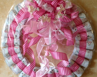 XLBaby Shower Decoration Wreath,Diapers Wreath, Baby girl Wreath,Hospital Baby Wreath .