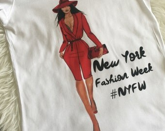 New York Fashion Week, Girl Red Dress Tshirt Custom