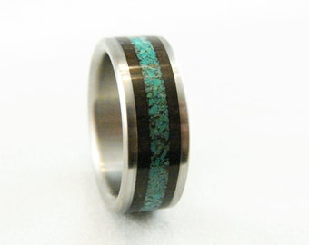 African Blackwood and Magnesite Stone inlay Titanium Ring, stone inlay, exotic hardwood,wood and titanium,titanium and stone inlay