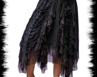 long gothic skirt from net and lace