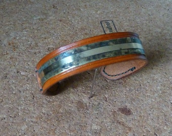 SCKLeather Handmade Veg Tan Leather Bracelet with Patinated Brass