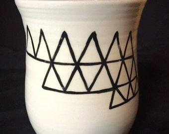Geometric Dome Mug Handpainted on Porcelain