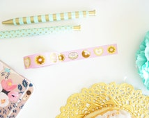Donut washi tape - Lovely Collection - Pink with chocolate sprinkle gold foil donut washi tape